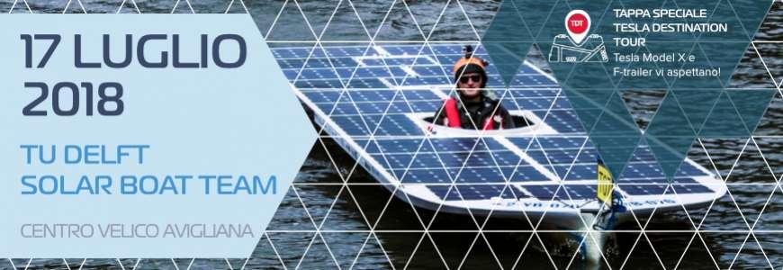 17 luglio: Tesla Destination Tour e la barca solare del TU Delft Solar Boat Team ad Avigliana